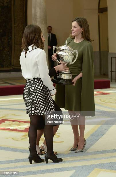 Queen Letizia of Spain delivers a National Sport Award to Maialen Chourraut and Lydia Valentin at El Pardo Palace on February 19 2018 in Madrid Spain