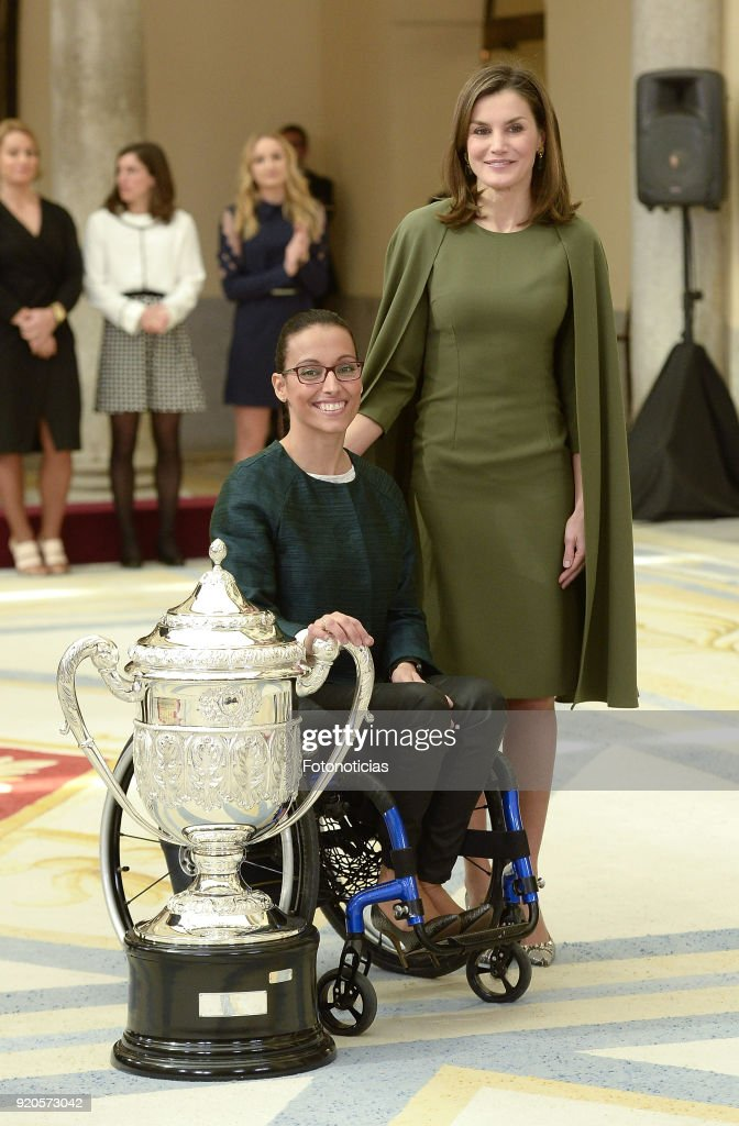 Queen Letizia of Spain (R) delivers a National Sport Award to Teresa Perales at El Pardo Palace on February 19, 2018 in Madrid, Spain.