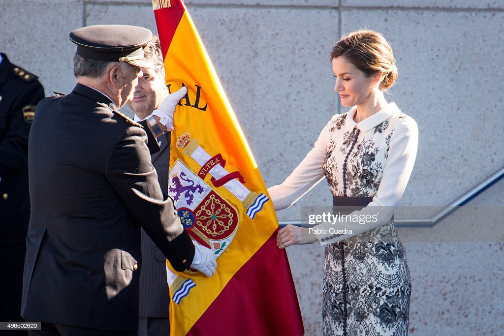 Queen Letizia of Spain Delivers Spanish Flag to National Police : News Photo