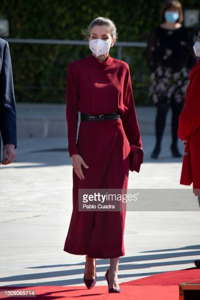 Queen Letizia of Spain departs for an official visit to Andorra at the Adolfo Suarez Madrid-Barajas Airport on March 25, 2021 in Madrid, Spain.