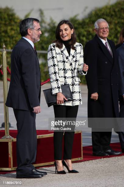 Queen Letizia of Spain departs for an official visit to Cuba at the Barajas Airport on November 11, 2019 in Madrid, Spain.