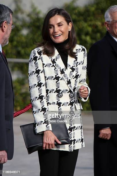 Queen Letizia of Spain departs for an official visit to Cuba at the Barajas Airport on November 11 2019 in Madrid Spain