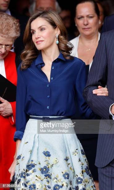 Queen Letizia of Spain departs Westminster Abbey after laying a wreath at the Grave of the Unknown Warrior during day 2 of the Spanish State Visit to...