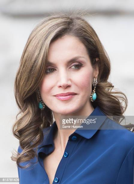 Queen Letizia of Spain departs Westminster Abbey during a State visit by the King and Queen of Spain on July 13 2017 in London England This is the...