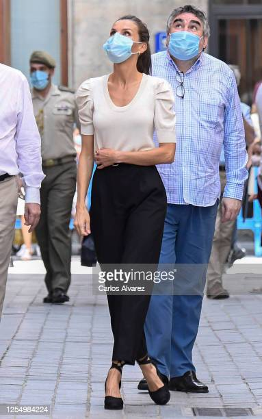 Queen Letizia of Spain during a visit to the downtown area of Jaca on July 08 2020 in Jaca Spain This trip is part of a royal tour that will take...