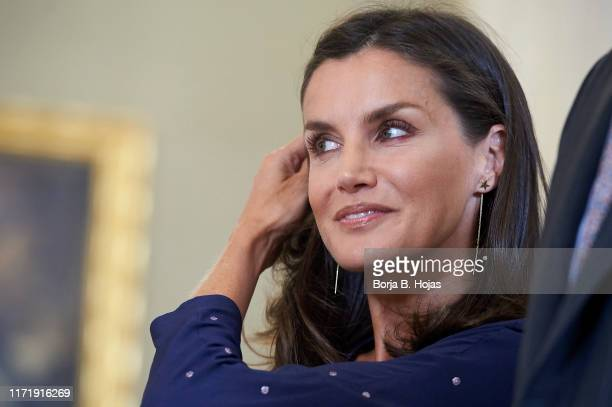 Queen Letizia of Spain during Royal Audiences at Zarzuela Palace on September 03 2019 in Madrid Spain