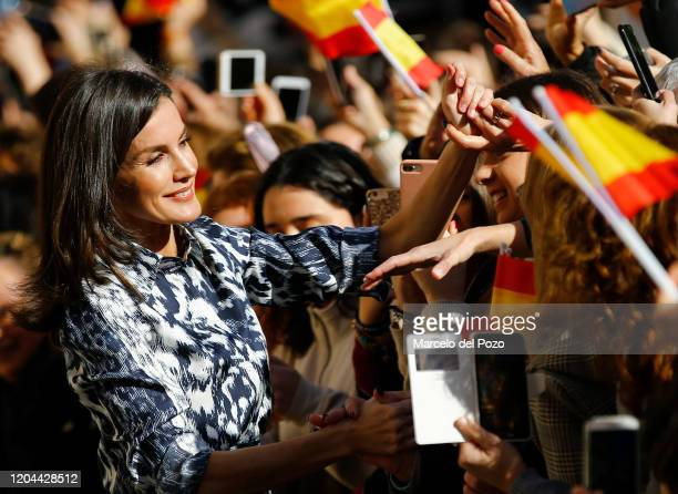 Queen Letizia of Spain greets people on February 06, 2020 in Ecija, Spain.