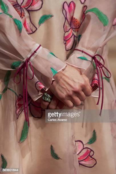 Queen Letizia of Spain hands detail attends the deliver of Princess of Asturias awards medals during the Princess of Asturias Award 2017 at the...