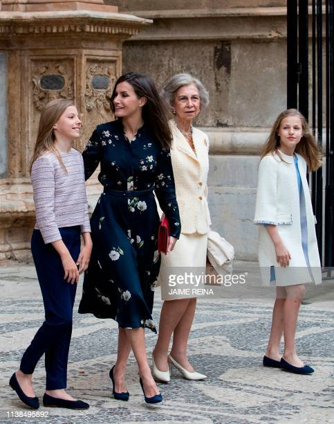 Queen Letizia of Spain her daughters Princess Sofia and Princess Leonor and former Queen Sofia leave after attending the traditional Easter Mass of...