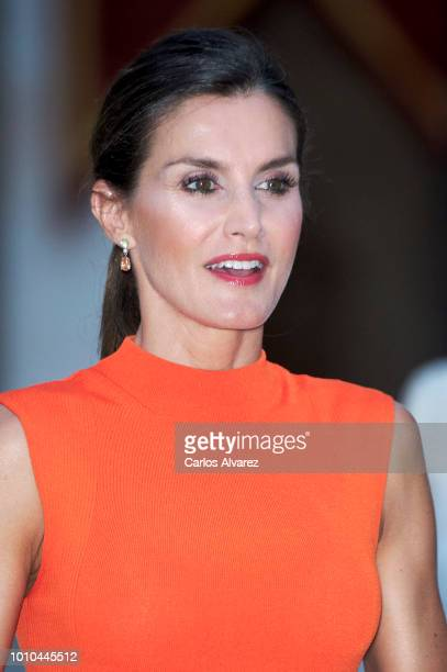 Queen Letizia of Spain hosts a dinner for authorities at the Almudaina Palace on August 3 2018 in Palma de Mallorca Spain