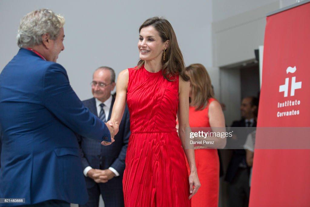 Queen Letizia Meets Directors of Cervantes Institutes in Malaga : News Photo