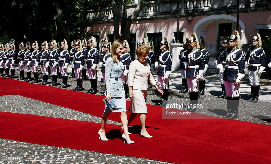Queen Letizia of Spain is greeted by First Lady of Portugal, Maria Cavacoas during an official visit to Portugal on July 7, 2014 in Lisbon, Portugal.