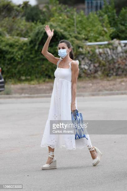 Queen Letizia of Spain is seen arrive at the Insular Livestock Cooperative , in Alaior, the largest producer of emblematic cheese on the island of...