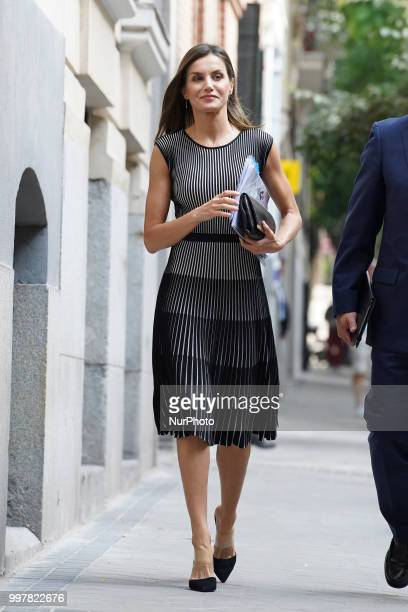 Queen Letizia of Spain is seen arriving at AECC headquarters on July 13, 2018 in Madrid, Spain.