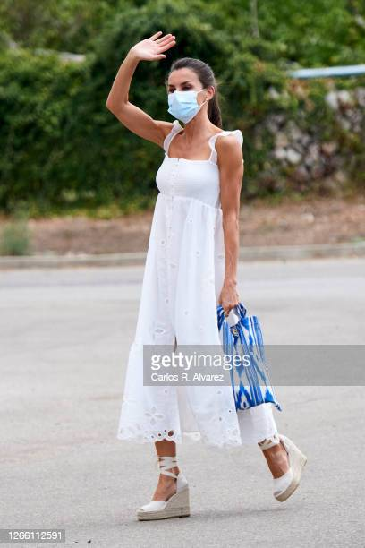 Queen Letizia of Spain is seen arriving at the Insular Livestock Cooperative , in Alaior. The largest producer of emblematic cheese on the island of...