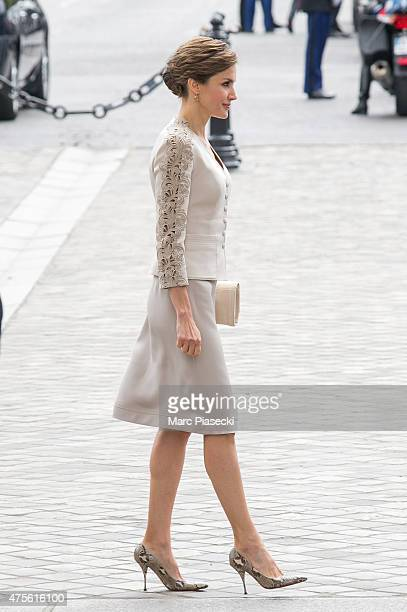 Queen Letizia of Spain is seen at Arc de Triomphe during the first day of a three-days official visit on June 2, 2015 in Paris, France.