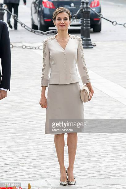 Queen Letizia of Spain is seen at Arc de Triomphe during the first day of a threedays official visit on June 2 2015 in Paris France