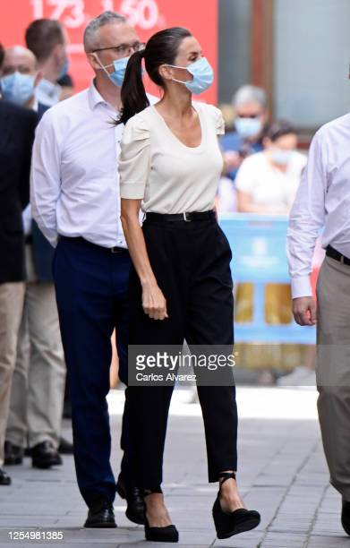 Queen Letizia of Spain is seen visiting the downtown area of Jaca and the Cathedral on July 08 2020 in Jaca Spain This trip is part of a royal tour...
