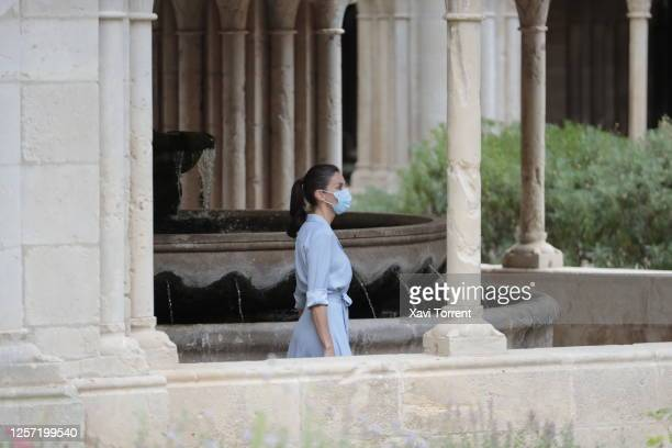Queen Letizia of Spain is seen visiting the Royal Monastery of Santa Maria de Poblet on July 20 2020 in Tarragona Spain This trip is part of a royal...