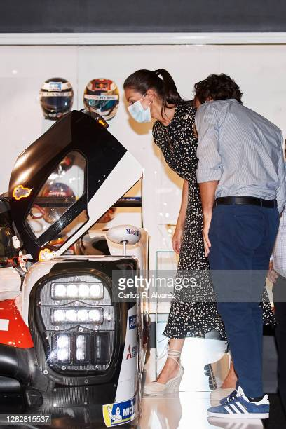 Queen Letizia of Spain is shown around by Fernando Alonso during a visit to the Fernando Alonso Museum and Circuit on July 30 2020 in Llanera Spain...