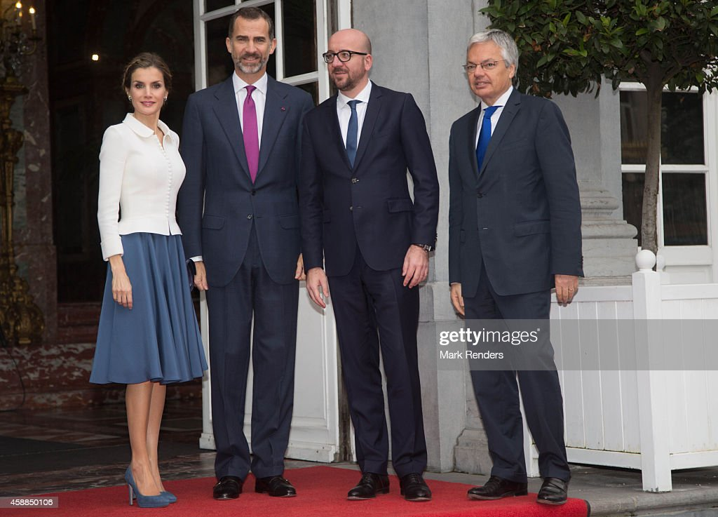 Queen Letizia of Spain, King Felipe of Spain, Belgian Prime Minister Charles Michel and Belgian Foreign Minister Didier Reynders during a Spanish State visit at the Egmond Palace on November 12, 2014 in Brussel, Belgium.