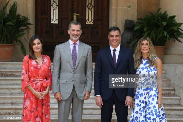 Queen Letizia of Spain King Felipe of Spain Prime Minister Pedro Sanchez and his wife Maria Begona Gomez Fernandez are seen at Marivent Palace on...