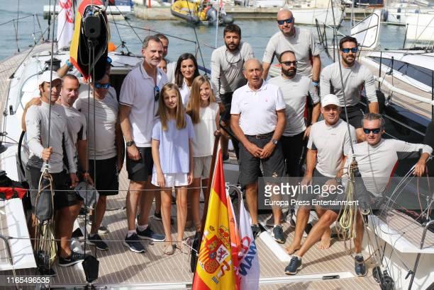 Queen Letizia of Spain, King Felipe of Spain, Princess Sofia of Spain and Princess Sofia of Spain are seen on August 01, 2019 in Palma de Mallorca,...