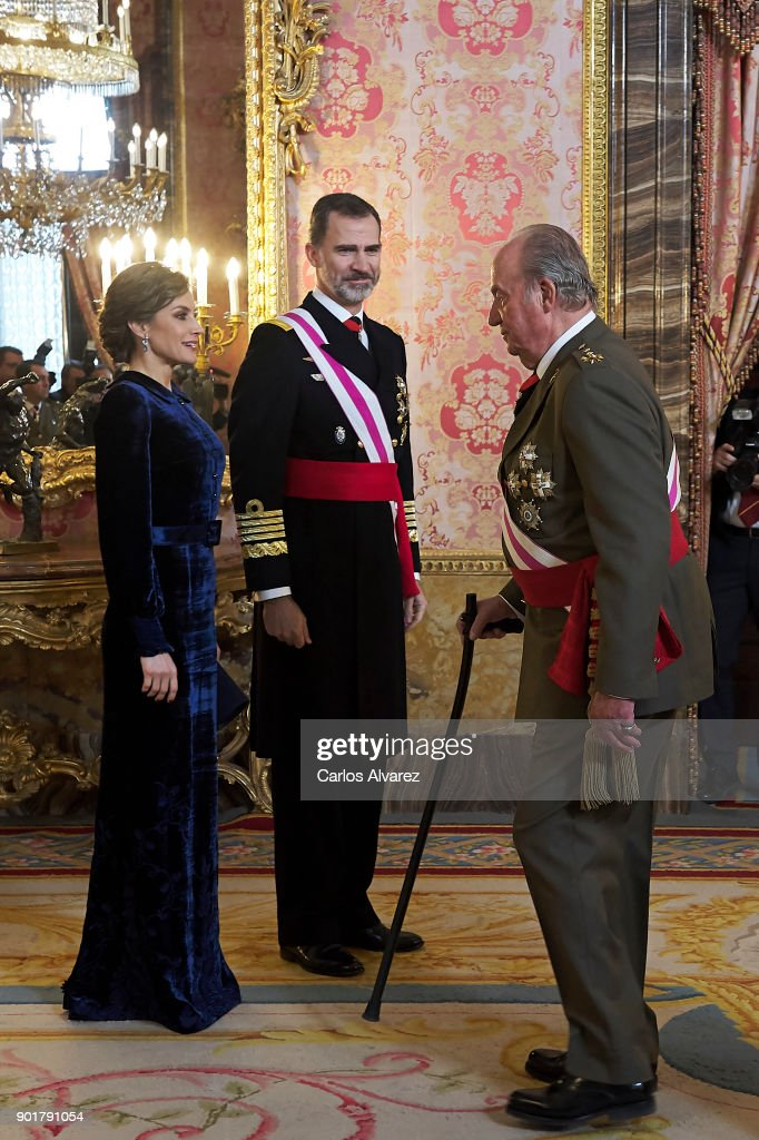 Queen Letizia of Spain, King Felipe VI of Spain and King Juan Carlos attend the Pascua Militar ceremony at the Royal Palace on January 6, 2018 in Madrid, Spain.