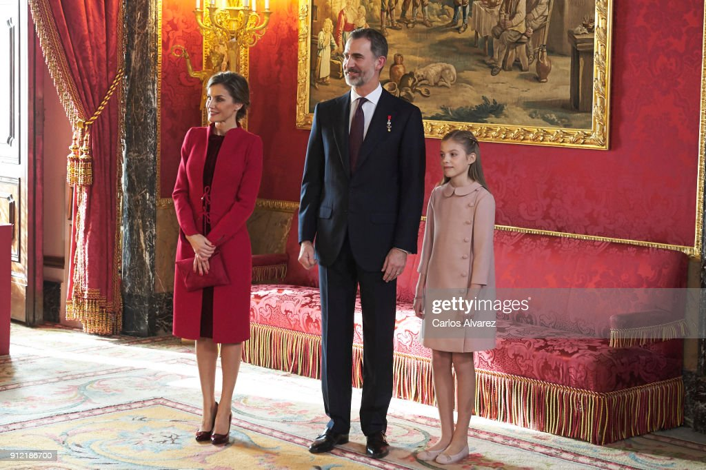 Queen Letizia of Spain, King Felipe VI of Spain and Princess Sofia of Spain attend the Order of Golden Fleece (Toison de Oro), ceremony at the Royal Palace on January 30, 2018 in Madrid, Spain. Today is King's Felipe 50th birthday.