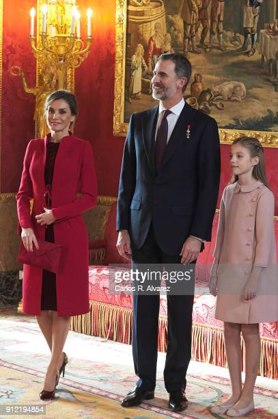 Queen Letizia of Spain King Felipe VI of Spain and Princess Sofia of Spain attend the Order of Golden Fleece ceremony at the Royal Palace on January...