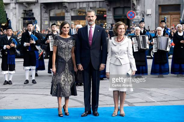 Queen Letizia of Spain King Felipe VI of Spain and Queen Sofia arrive to the 2018 Princess of Asturias Awards Ceremony at the Campoamor Teather on...