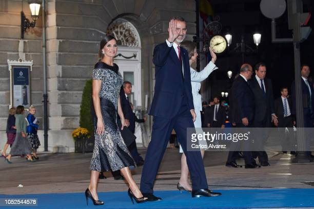 Queen Letizia of Spain King Felipe VI of Spain and Queen Sofia attend the 2018 Princess of Asturias Awards at the Campoamor Teather on October 19...