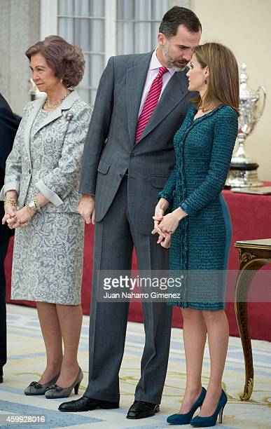 Queen Letizia of Spain King Felipe VI of Spain and Queen Sofia attend National Sport Awards 2013 at Royal Palace of El Pardo on December 4 2014 in...