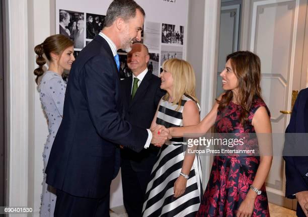Queen Letizia of Spain King Felipe VI of Spain Camino Paniagua and Blanca Ulibarri attend Europa Press news agency 60th Anniversary at the Villa...