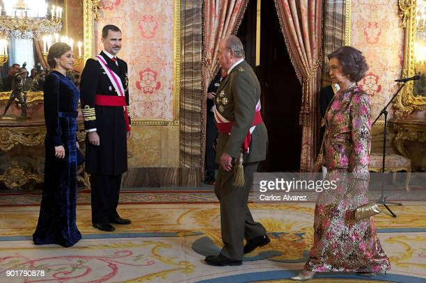 Queen Letizia of Spain King Felipe VI of Spain King Juan Carlos and Queen Sofia attend the Pascua Militar ceremony at the Royal Palace on January 6...