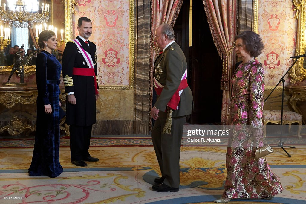 Queen Letizia of Spain, King Felipe VI of Spain, King Juan Carlos and Queen Sofia attend the Pascua Militar ceremony at the Royal Palace on January 6, 2018 in Madrid, Spain.