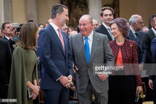 Queen Letizia of Spain King Felipe VI of Spain King Juan Carlos and Queen Sofia attend the National Sports Awards ceremony at El Pardo Palace on...