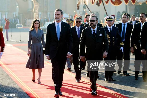 Queen Letizia of Spain, King Felipe VI of Spain, Prince Moulay Rachid of Morocco and King Mohammed VI of Morocco arrive for a welcoming ceremony at...