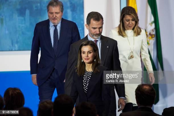 Queen Letizia of Spain King Felipe VI of Spain Spanish Minister of Education Culture and Sports Inigo Mendez de Vigo and President of Andalucia...