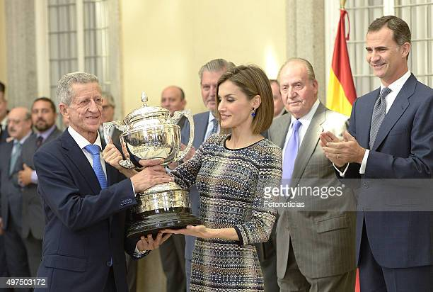 Queen Letizia of Spain King Juan Carlos of Spain and King Felipe VI of Spain attend the 2014 National Sports Awards Ceremony at El Pardo Palace on...