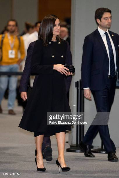 Queen Letizia of Spain leaves after a conference at the COP25 Climate Submmit at IFEMA Madrid on December 03 2019 in Madrid Spain