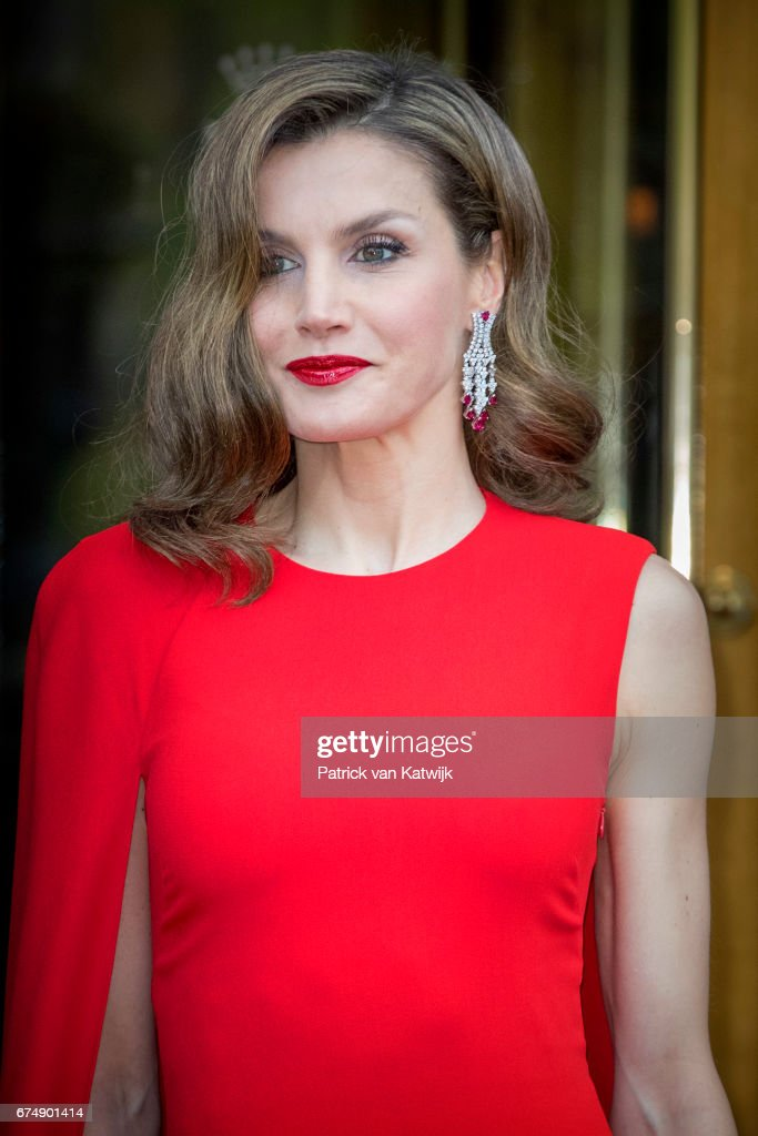 Queen Letizia of Spain leaves their hotel to attend the private birthday party of King Willem-Alexander in the Royal Stables on April 29, 2017 in The Hague, Netherlands.