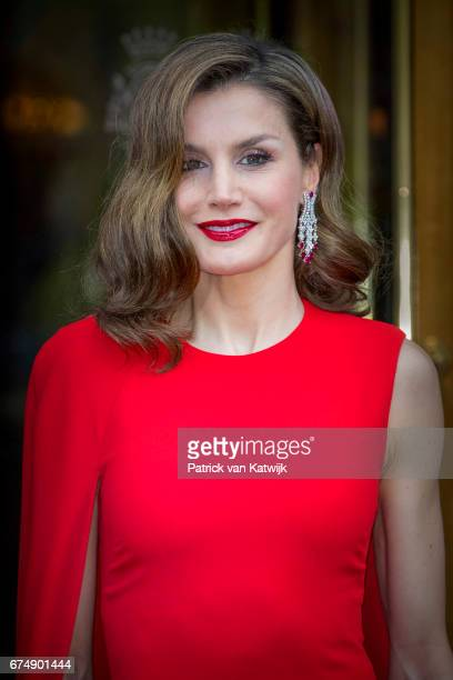 Queen Letizia of Spain leaves their hotel to attend the private birthday party of King Willem-Alexander in the Royal Stables on April 29, 2017 in The...