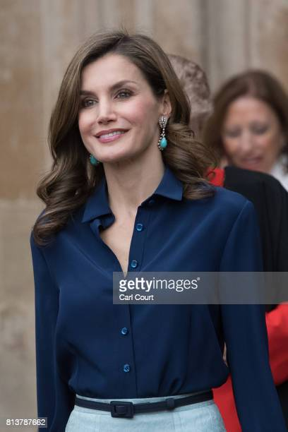Queen Letizia of Spain leaves Westminster Abbey during a State visit by the King and Queen of Spain on July 13 2017 in London England This is the...