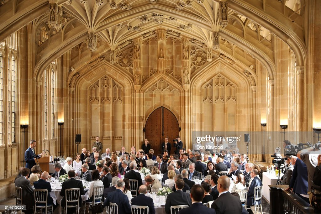 Queen Letizia of Spain listens as King Felipe of Spain speaks at Divinity School, Oxford during a State visit to the UK on July 14, 2017 in Oxford, England. This is the first state visit by the current King Felipe and Queen Letizia, the last being in 1986 with King Juan Carlos and Queen Sofia.