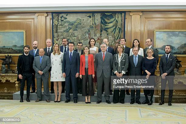 Queen Letizia of Spain Marta Michel and Jose Manuel Soria attend audiences at Zarzuela Palace on April 13 2016 in Madrid Spain