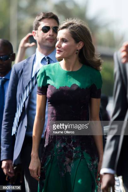 Queen Letizia of Spain meets First Lady of Senegal Marieme Faye Sall prior to an official lunch on December 12 2017 in Dakar Senegal Queen Letizia of...