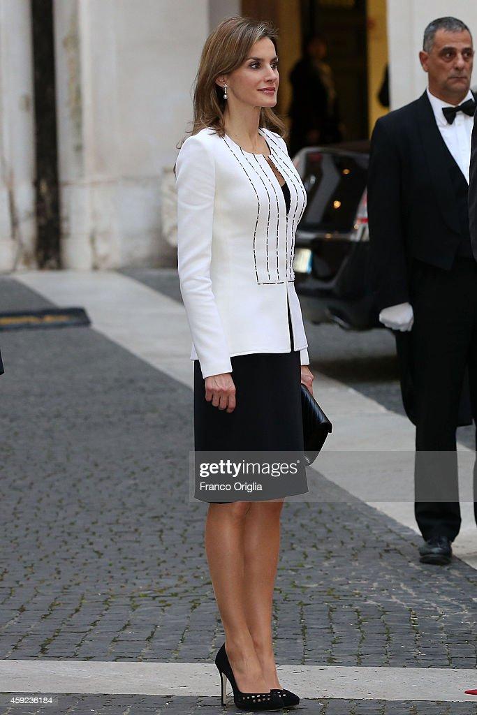 Queen Letizia of Spain meets Italian Prime Minister Matteo Renzi at Palazzo Chigi on November 19, 2014 in Rome, Italy.