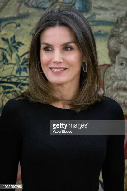 Queen Letizia of Spain meets president of Conde Nast Spain Javier Pascual del Olmo and Eugenia de la Torriente on the occasion of the 30th...