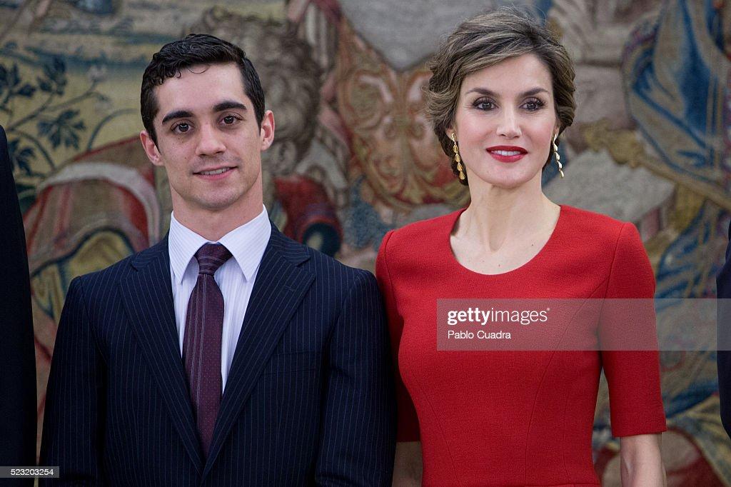 Queen Letizia of Spain (R) meets Spanish figure skater Javier Fernandez (L) at Zarzuela Palace on April 22, 2016 in Madrid, Spain.